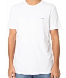 Camiseta Calvin Klein Jeans Masculina Branca Logo Marinho