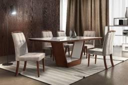 Mesa com 06 cad 180x90-luxo sala de jantar pronta entrega