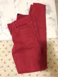 Calça jeans cor goiaba