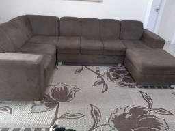 Vendo sofá usado mas bem conservado, grande de canto, em tecido suede, marron