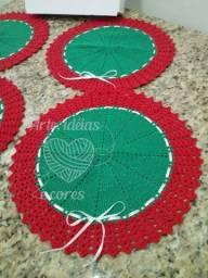 Kit de sousplat verde/vermelho com 4 peças