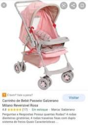"""Lindo Carrinho de Bebê Galzerano Rosa (vender hoje) """"Leiam o Anúncio"""""""