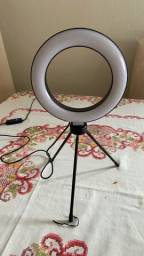 Ring Light Iluminador Selfie Makeup + Tripé De Mesa Luz Led 6 polegadas