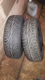 4 Pneu Aro 13 com 4 roda de ferro fiat