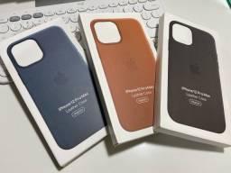 Apple Leather Case para IPhone 12 Pro Max com suporte Magsafe