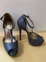 Peep toe meia pata azul 37 My shoes