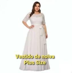 Vestido de noiva plus size com manga