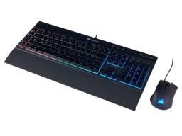 teclado e mouse com fio corsair (36059-7) ch-9206115-br k55 rgb 6000dpi