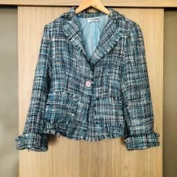 Blazer tweed em lã