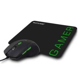 Mouse Gamer Multilaser 3200DPI 6 Botões Preto/Verde com Mouse Pad - MO273