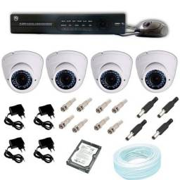 Kit 04 Câmeras Segurança Hd 720p Dvr 4 Canais Hd 500 Gb