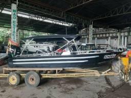 Lancha bote de alumínio reforçado, toooop, 6m x 1,80; completa, motor 150hp suzuki