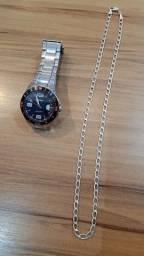 Relógio oriente original e corrente de prata