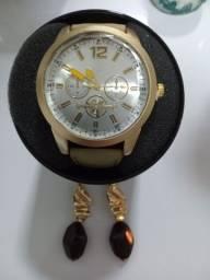 Relógio feminino + Brinco Semi Jóia