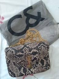 Bolsa Animal Print, couro legítimo, marca C& (Couro e Companhia).