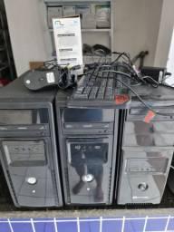 3 computadores 3 telas led e 1 impressora