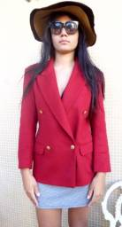 Blazer feminino, vermelho, de lã, americano, Chasecult (seminovo)