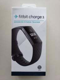 Rastreador de atividade + frequência cardíaca + sono - Fitbit Charge 3 (caixa lacrada)