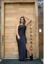 Vestido longo Suplex promoção apenas 1 preto  disponível  entrega grátis corre