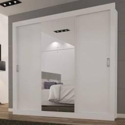 Guarda Roupa Casal com Espelho 3 Portas de Correr Smart Espresso Móveis Branco