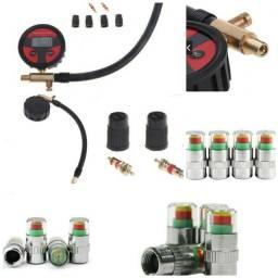 Kit Calibrador De Pressão De Ar + Monitor/alerta Pneus