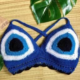 Conjunto blogueirinha azul olho grego