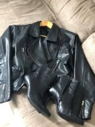 Jaqueta e bota em couro
