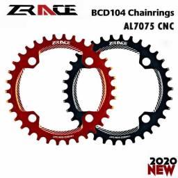 Coroa unica bike bcd 104 e 96 assimetrica 32,34,36,38 Dentes