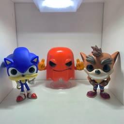 Kit Coleção Funko Pop Games - Sonic, Pacman e Crash