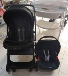 Travel System Burigotto AT6 Carrinho Reversível e Bebê conforto semiovos