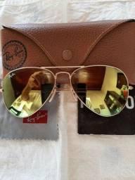 Óculos solar feminino dourado Ray-Ban Aviador