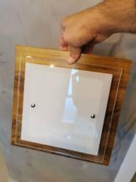Plafon luminária madeira e vidro temperado