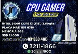 Corei3 gamer com ssd e 8gb ddr4 e rx 550 4gb