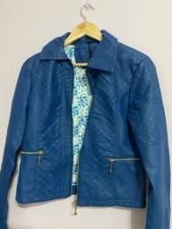 Jaqueta de couro azul