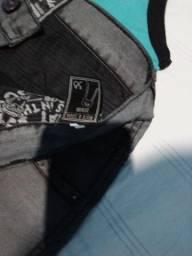 Bermuda jeans e vinil com elastano