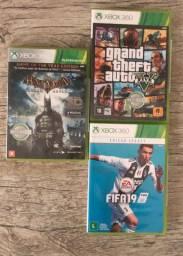Combo 3 jogos Xbox 360 gta v, fifa 19, Batman