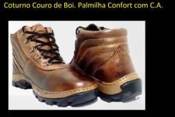 Coturno de Trabalho ou Passeio Couro Boi Palmilha Confort C.A