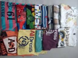 Camisetas tamanhos 8 e 10  masculino