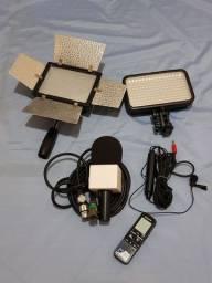 Microfones e Iluminador de led