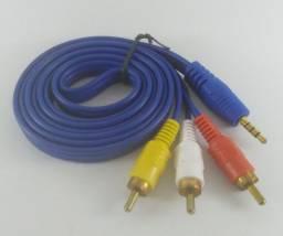 Cabo Áudio Auxiliar P2 3rca Para Dvd Celular/p2 Tv Tubo 1,5m