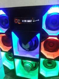Mini paredão com 8 fones som da Sony fonte de 15 Ampéres pegando cd auxiliar e Bluetooth