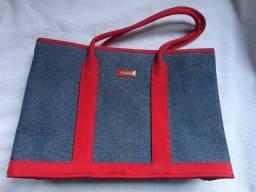 Bolsa feminina em Jeans e vermelho