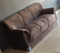Conjunto de sofá tecido suede marrom, novo na embalagem 3 e 2 lugares