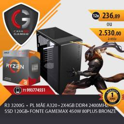 PC Gamer Ryzen 3 3200G 8gb DDR4 3000mhz Placa Mãe A320 Fonte 400W Gab Gamer