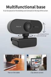 Webcam hd 1080p com microfone, mini câmera de comp, giratórias para transmissão ao vivo