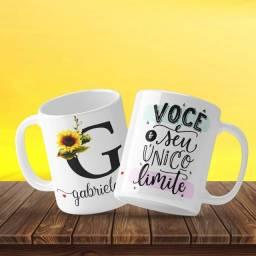 Caneca Personalizada Girassol A-Z Letra + Nome + Frase