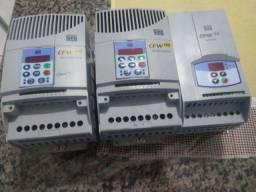 3 Inversores de frequência WEG 5 CV 220V. Valor 2.500 os três, ou 900 cada