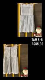 Vestido prata TAM 6-8