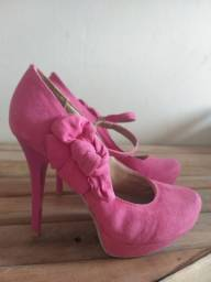 Salto meia pata rosa, camurça