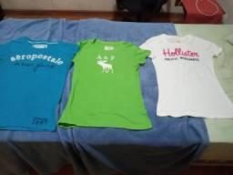 Pacote com 3 camisetas Hollister, Abercrombie e Aeropostale,  originais